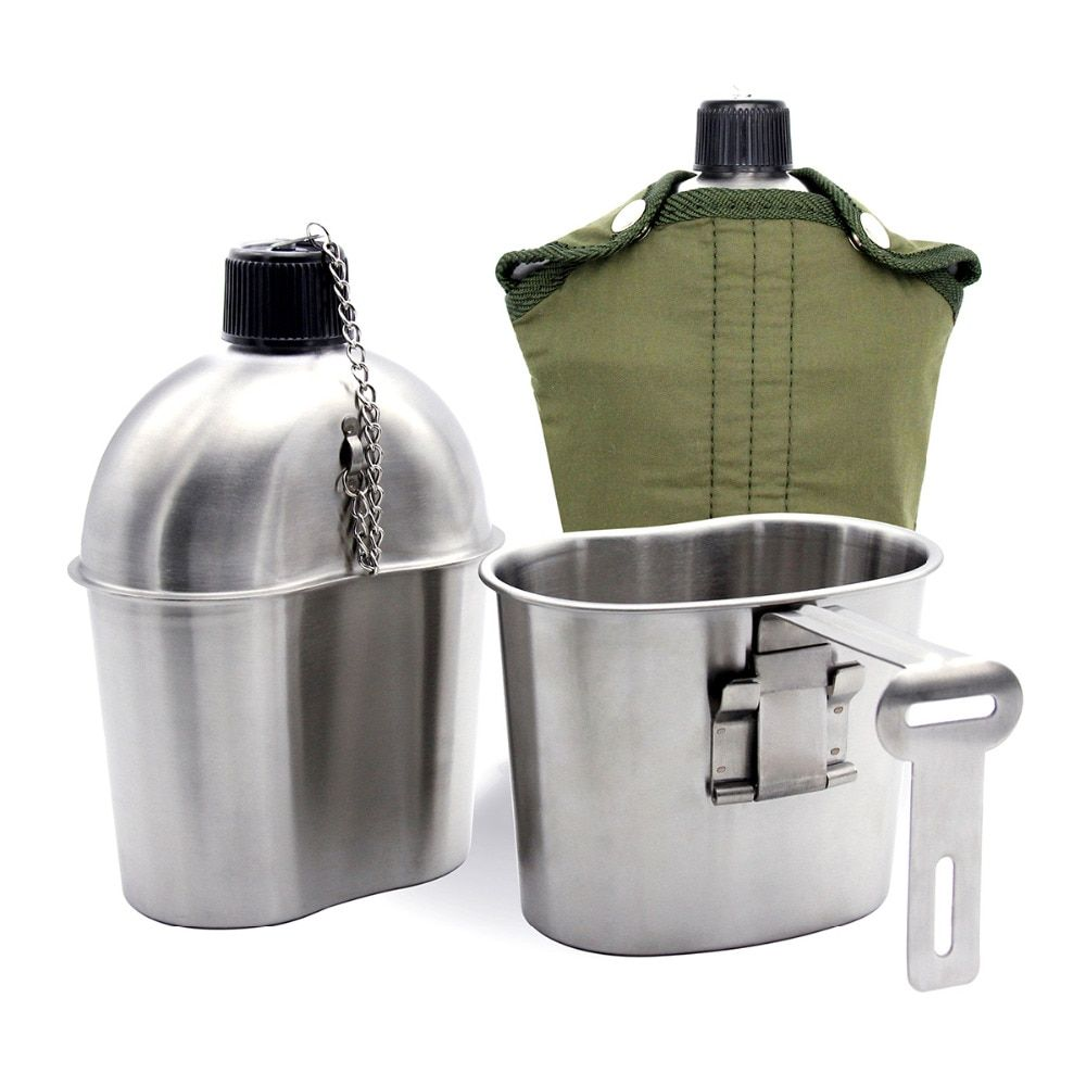 Cantine militaire en acier inoxydable 1L Portable avec 0.5 L tasse couverture verte Camping randonnée armée Camping pique-nique accessoires de voyage