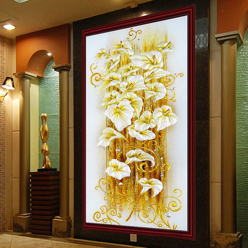 5d Diy Diamond Painting Cross Stitch <font><b>Golden</b></font> Lily Diamond Embroidery Flowers Crystal Round Diamond Mosaic Pictures Needlework