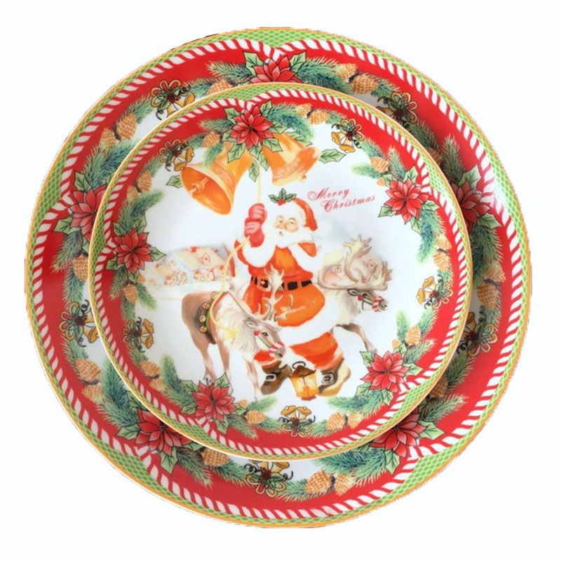 Ceramic 8 Inch And 10inch Plate Christmas Santa Plate Edible Hand-painted Porcelain Cartoon Flat Dish Home Deco Plate Dinnerware