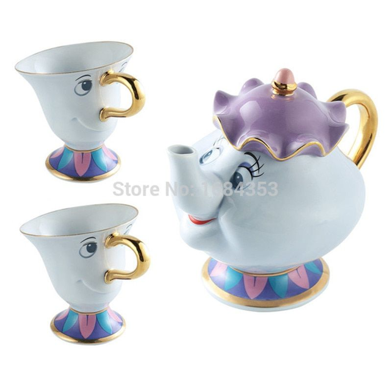 [1 POT + 2 CUPS] Beauty And The Beast Mrs Potts Chip Coffee Tea Set Pot Cup Mug Porcelain Kettle 18K Gold-plated Ceramic <font><b>Gift</b></font>