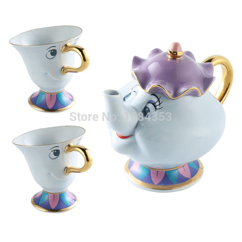 [1 POT + 2 CUPS] Beauty And The Beast Mrs Potts Chip Coffee Tea Set Pot Cup Mug Porcelain Kettle 18K Gold-plated Ceramic Gift