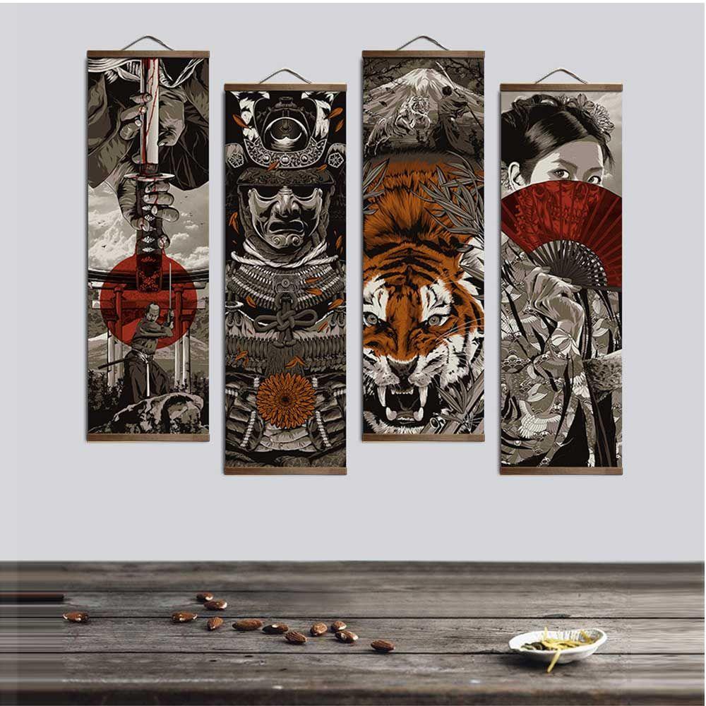 Japonais Ukiyoe pour HD toile affiche décoration peinture avec en bois massif pendaison défilement