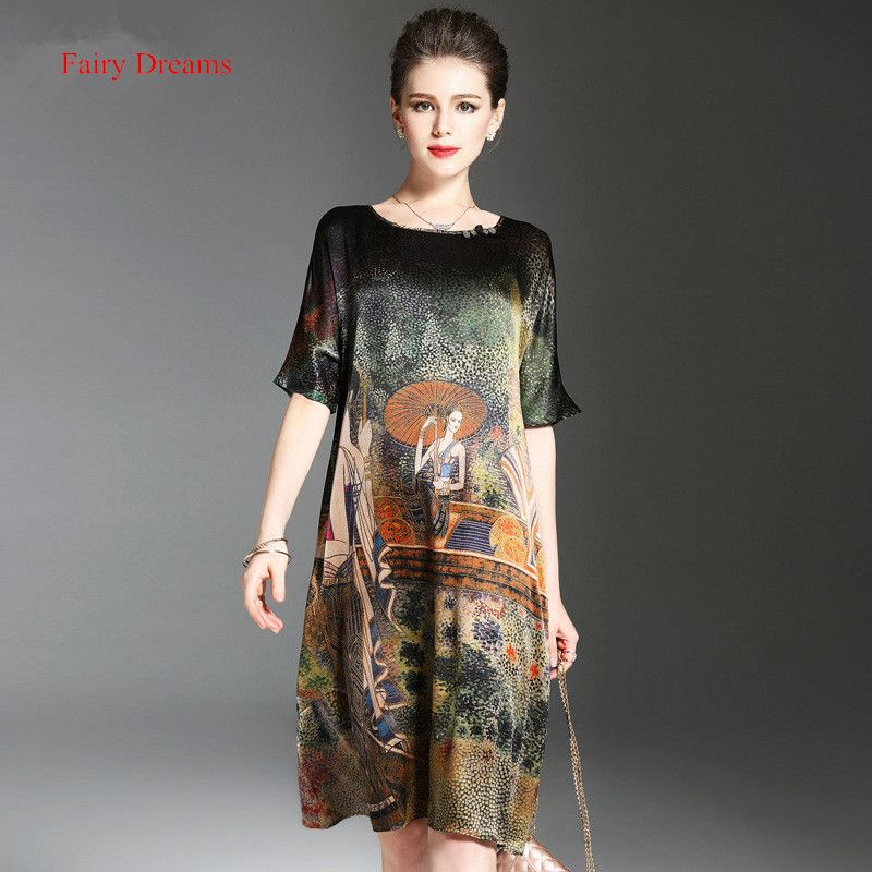Fairy Dreams Women Loose Dresses Print Summer Style Faux Silk Dress 2017 New Style Fashion Plus Size Clothing XXXL vestidos