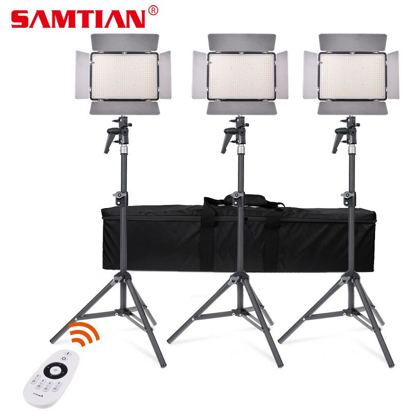 SAMTIAN Adjustable TL-600A LED Video Light Kit Bi-Color Photography Lighting with NP-F750 Battery For Photo Video Studio Light