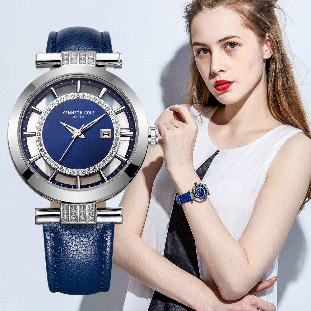 Kenneth Cole Womens Watches KC10021102 Diamond See-through Quartz Leather Calendar Women Watches