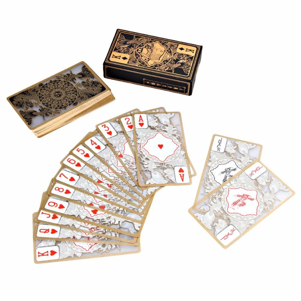 Étanche Transparent Pvc Poker Bord D'or Cartes À Jouer Dragon Carte Nouveauté Haute Qualité Collection Conseil Jeu Cadeau Durable