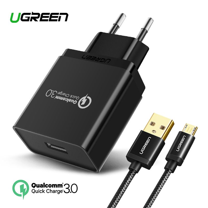 Ugreen USB Charger 18W Quick Charge 3.0 Mobile Phone Charger for <font><b>iPhone</b></font> Fast QC 3.0 Charger for Huawei Samsung Galaxy S9+ S8+