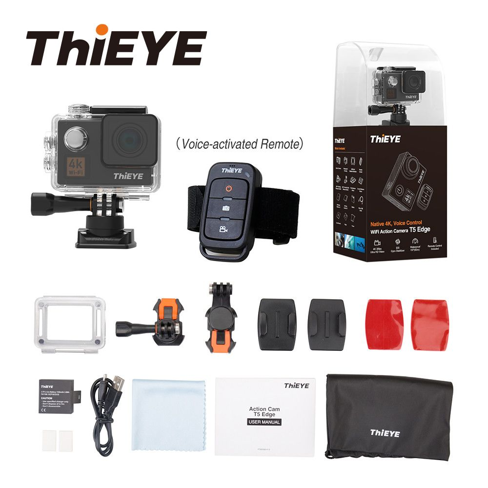 ThiEYE T5 Edge With Live Stream WiFi Action Camera Real 4K Ultra HD Sport Cam with EIS Voice Control 60M Waterproof Xmas Gift
