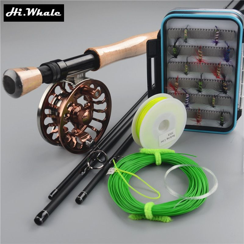 Carbon fly rod 9 ft 2.7m 4 section line wt 7/8# fishing rod and all-metal Fly Reels Fly Fishing combo Fishing Kit fishing tackle