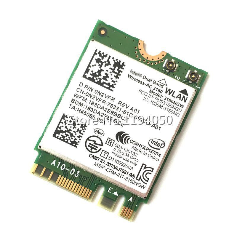 Intel 3160 3160NGW Double Bande Sans Fil AC + Bluetooth4.0 NGFF carte wifi 802.11AC Sans Fil Linux Win7 Win8 Win10