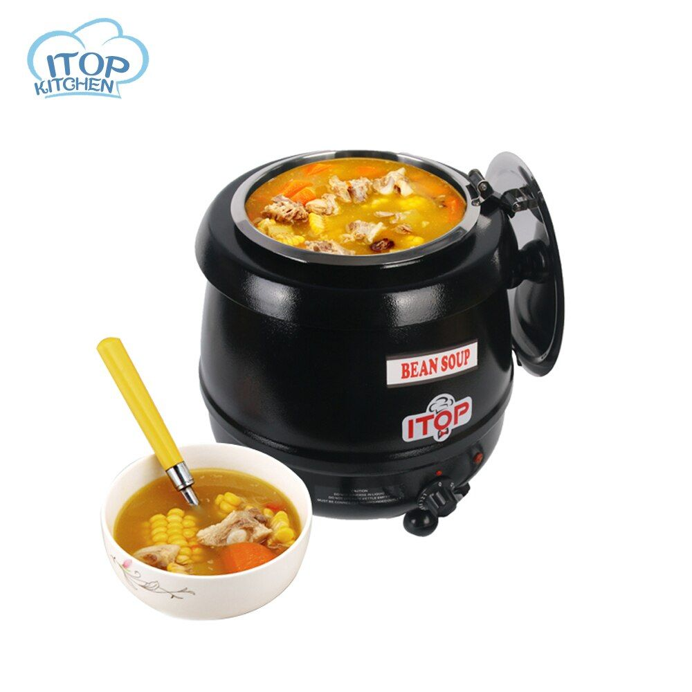 ITOP 10L Cafeteria Soup Kettle Soup Warmer Suitable for Hot Drink Shop/Coffee House Wet Heat Boiler 110V 220V