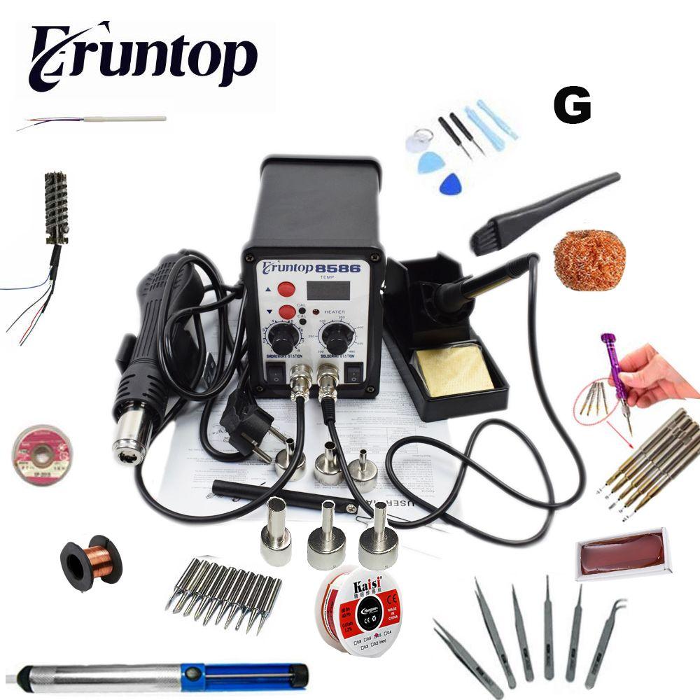 110/220V 750W 2 in 1 SMD Equipment Rework Station Eruntop 8586 Hot Air Gun + Solder Iron + Heating Element