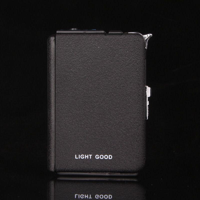 Nouveau 20 pcs Automatiquement Métal Givré Cigare Cigarette Boîte Titulaire De Stockage Du Tabac Cas w/Gaz Butane Torche Coupe-Vent Léger