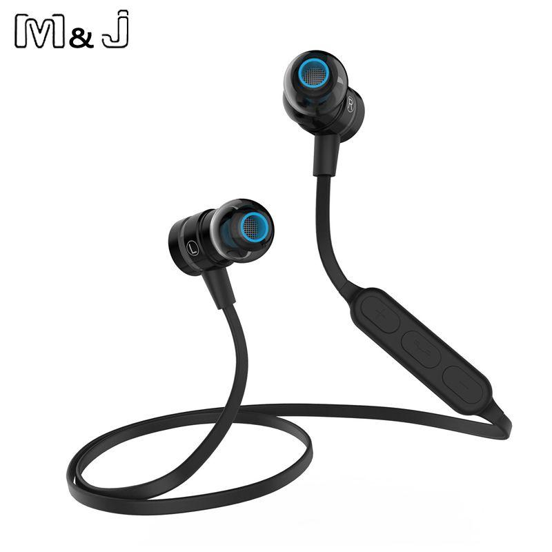 M & J BX335 Interrupteur Magnétique Bluetooth Sans Fil Sport Écouteur Sweatproof Stéréo Antibruit Casque Avec MICRO Pour Téléphone