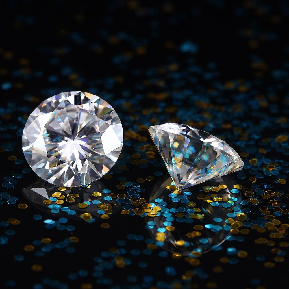TransGems 8mm 2 Carat F Color Certified Lab Grown Moissanite Diamond Loose Bead Test Positive As Real Diamond 1piece