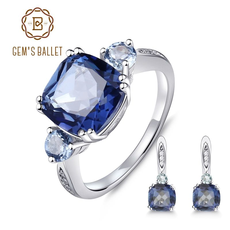 GEM'S BALLET 9.62ct Natural IoliteBlue Mystic Quartz Sky Blue Topaz Jewelry Set 925 Sterling Silver Earrings Ring Set For Women