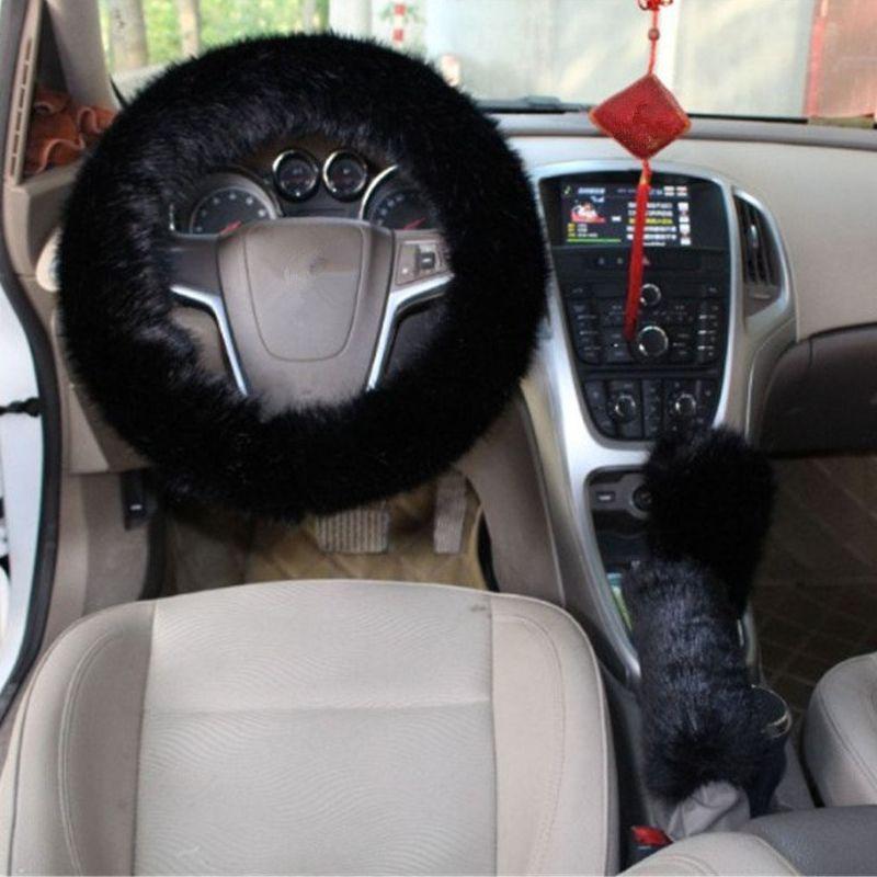 3 шт. 1 компл. автомобиль руль крышка с ручной тормоз Шестерни Сдвиг крышки мягкие пушистые плюшевые для 38 см зима теплый чехол на руль