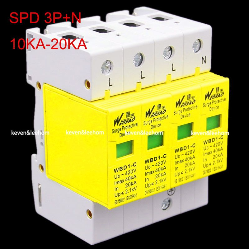 wholesale SPD 3P+N surge protector 10KW~20KW Low Voltage Arrester Device