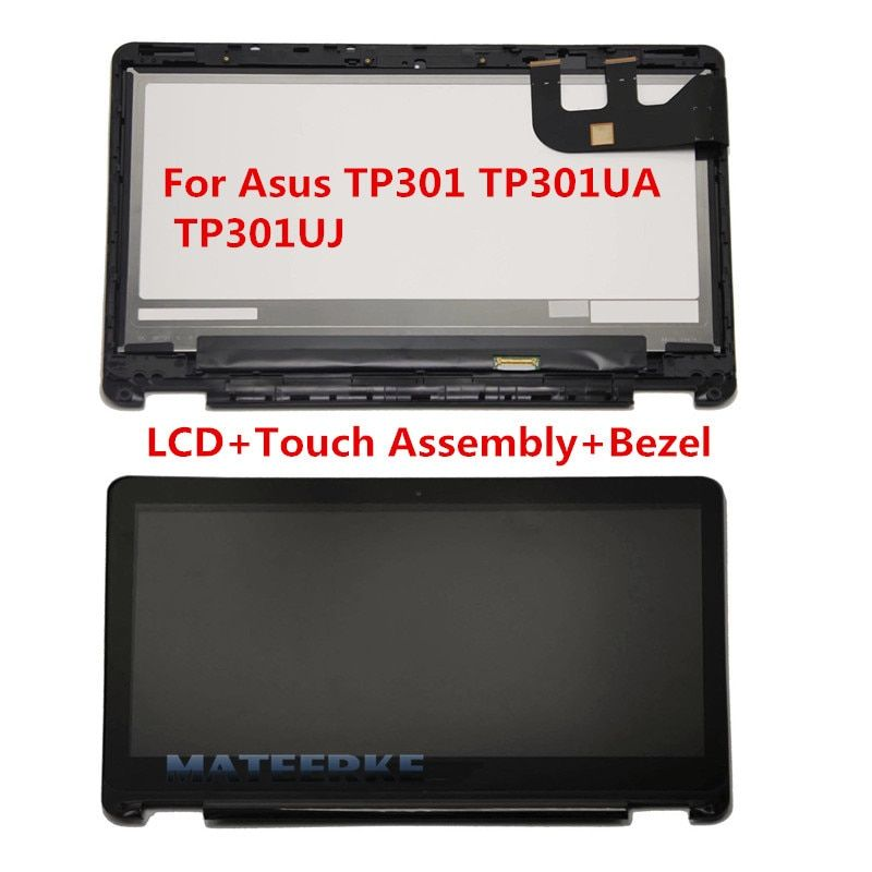100% New for Asus TP301 TP301UA TP301UJ TP301UA-1A Touch LCD Screen with Digitizer Assembly Replacement with Bezel