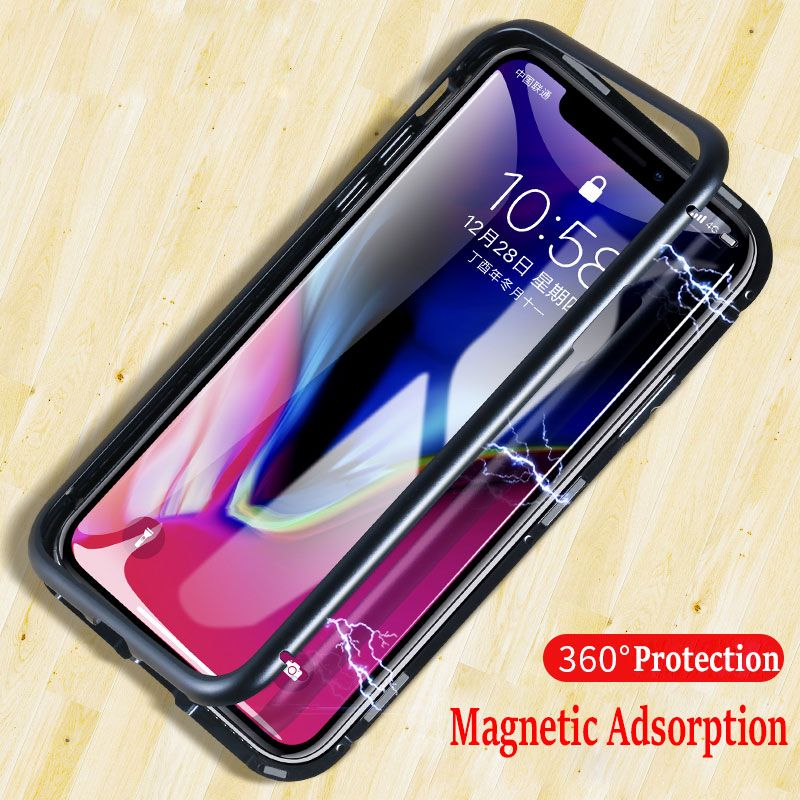 Magnetic Adsorption Case for IPhone X 8 PLUS 7 Plus Clear Tempered Glass + Built-in Magnet Case for IPhone 7 8 Metal Ultra Cover