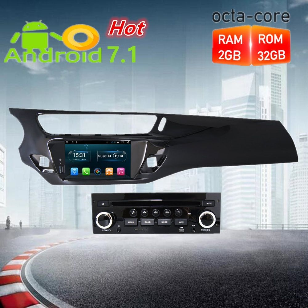 Octa Core Android7.1 Car Radio GPS DVD Multimedia Player Stereo For Citroen C3 DS3 2010-2016 Auto Audio Navigation HeadUnit