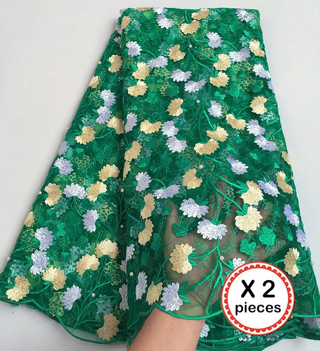 2 pieces 10 yards total fresh tulle lace African french lace Nigerian sewing fabric high quality good choice