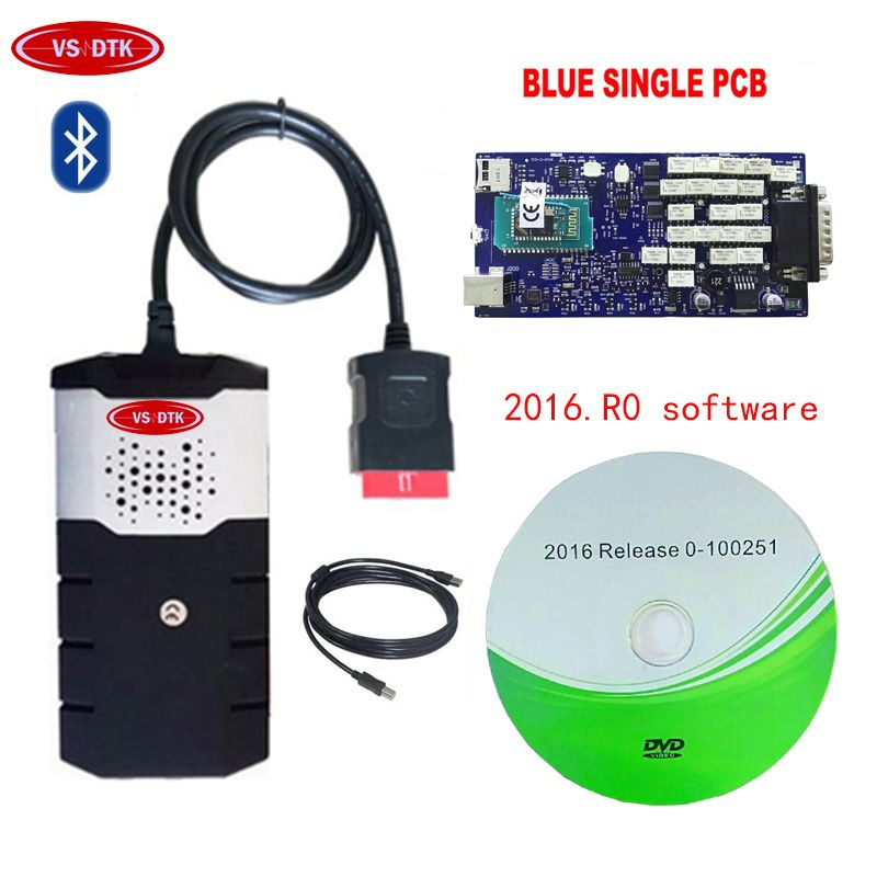newest 2016.00 for delphis blue Single PCB Board VD DS150E CDP PRO Plus OBD2 Scanner OBD car truck OBDII diagnostic tool.