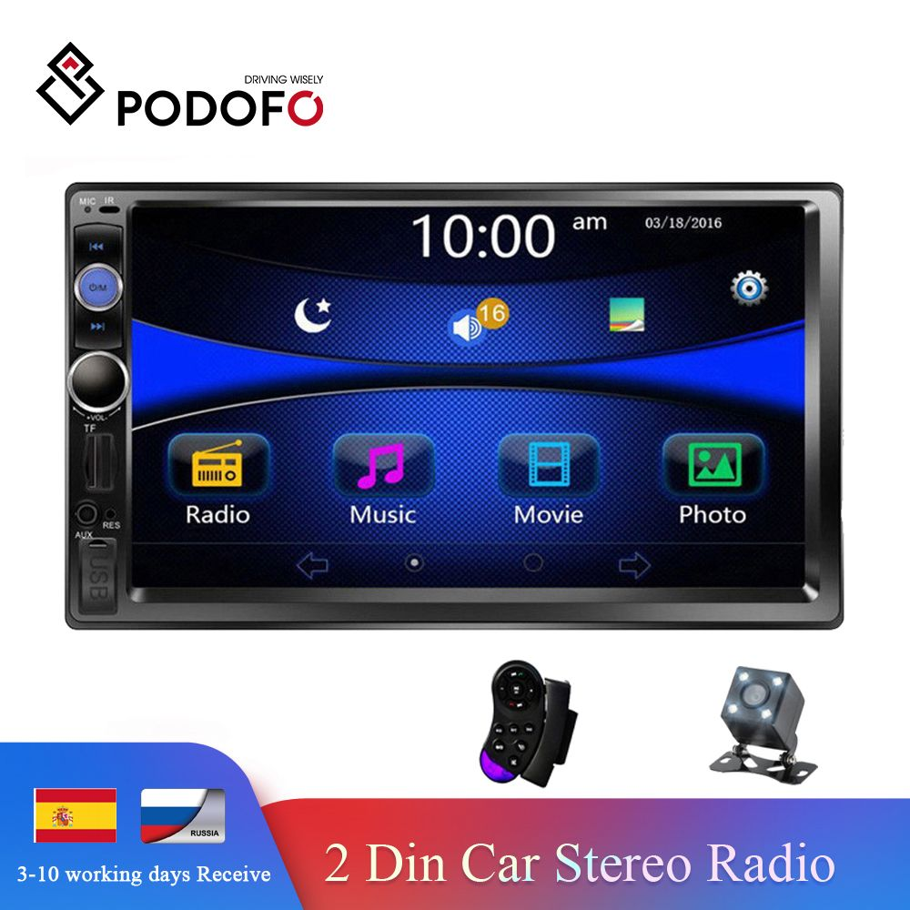 Podofo Auto Radio 2 din voiture lecteur multimédia 7 écran tactile Autoradio 2din Support stéréo caméra de recul Mirrorlink Android