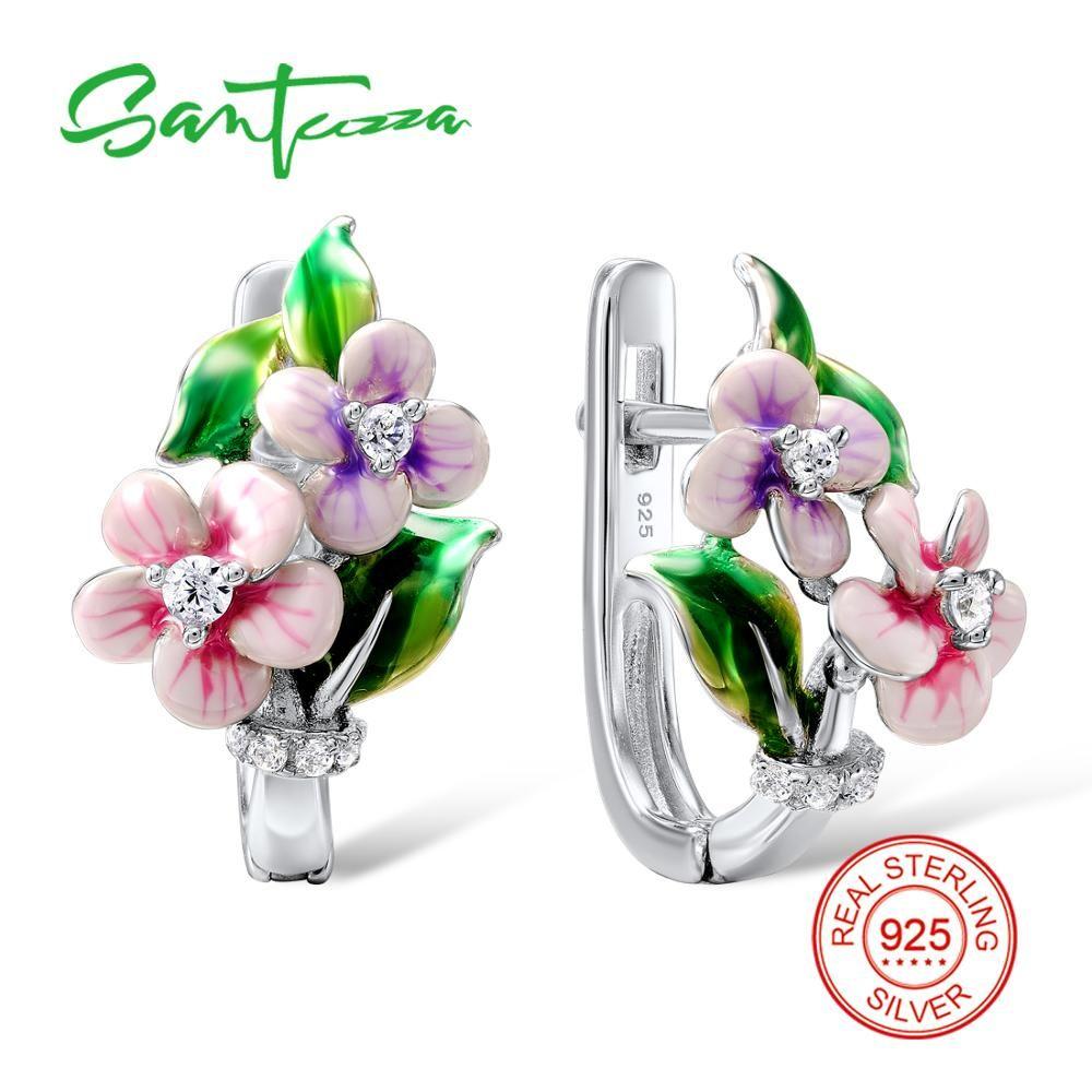SANTUZZA Silver Pink Flower Earrings For Women 925 Sterling Silver Earrings Silver Shiny Cubic Zirconia brincos Jewelry Enamel