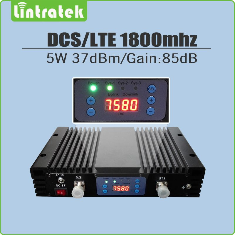 5 Watt High Gain 85dB signal repeater DCS 1800 mhz repetidor de sinal celular 1800 mhz DCS signal booster mit LCD/AGC/MGC LCD display