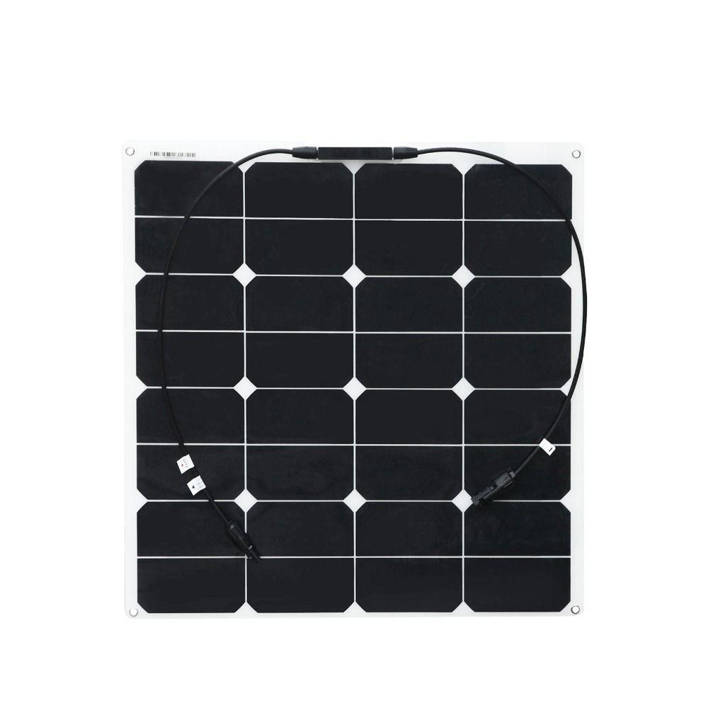 Chargeur solaire Semi Flexible pliable léger de la puissance 18v 12v de soleil du panneau solaire 50w avec le connecteur Mc4 pour la cabine de bateau de Rv
