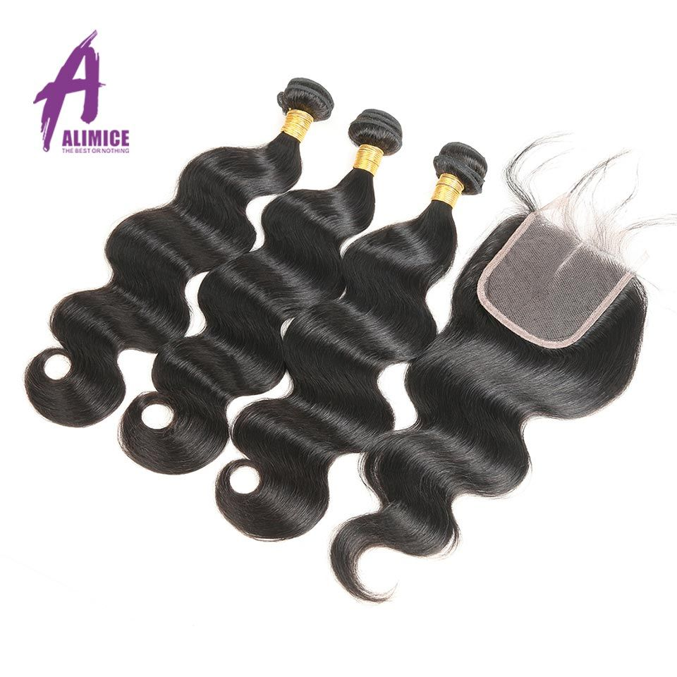 Alimice Brazilian Body Wave 3 Bundles Human Hair Bundles With Closure Non Remy Weft Hair Weave Free Part Swiss Lace Closure