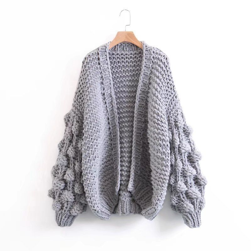 Try Everything Hand Coarse Knitted Sweater Women 2018 fashion Thicken Warm Winter Lantern Sleeve Crocheted Cardigans Female Coat