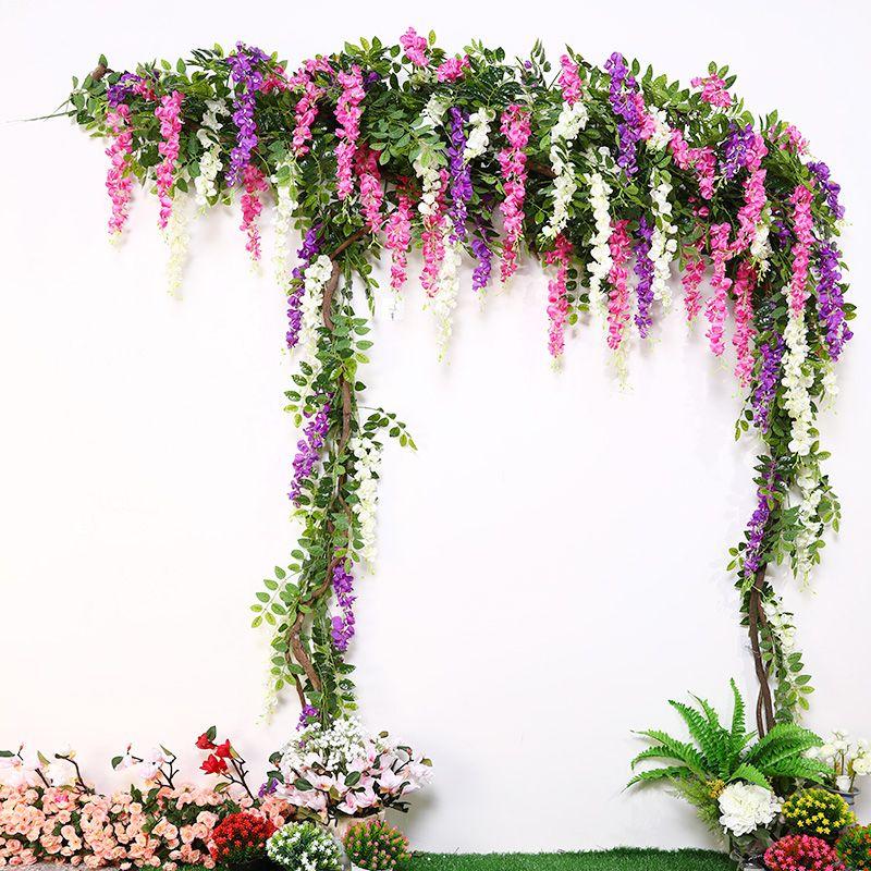 200 CM Long 1 pièces de mariage fleur vigne rotin faux fleur artificielle mariée arc décoration accessoires Wisteria fleur accessoires
