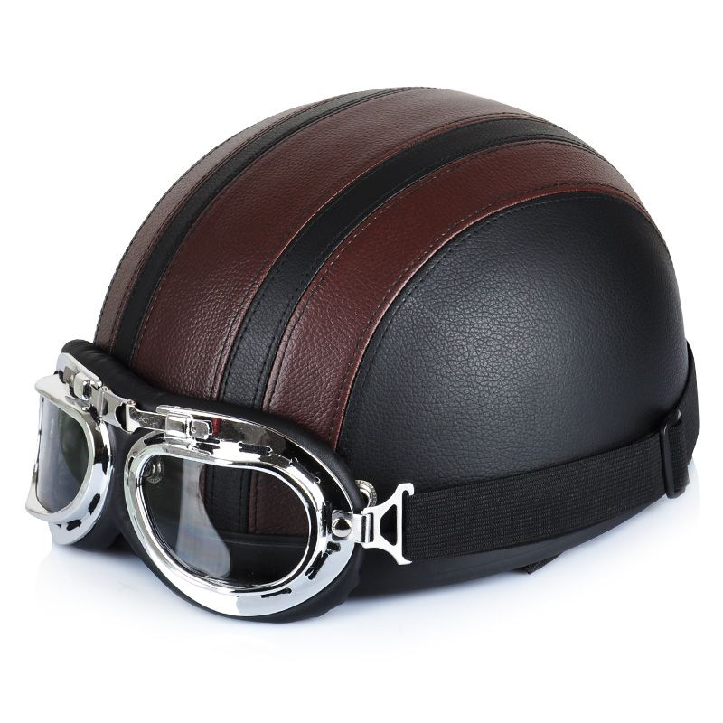 Motorcycle Helmet Synthetic Leather Vintage Motorcycle Cruiser Touring Open Face Half Motor Scooter Helmets & Visor & Goggles