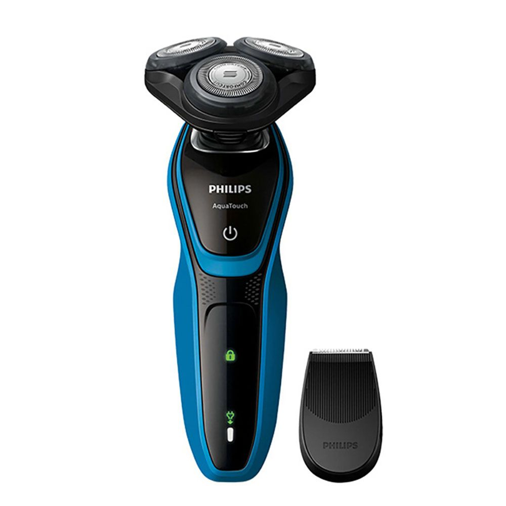 Philips AquaTouch Wet and dry electric shaver S5050 Rotary 3 head for Men 30 min/9 shaves with Skin Protection System 100-240 V