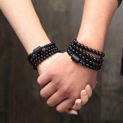Nouvelle Arrivée 6mm 8mm Noir Obsidienne Pierre Perle Bracelet Pour Femmes Hommes Transport Chanceux Bijoux