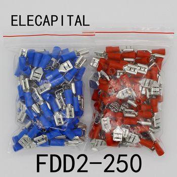 FDD2-250 Féminin Électriques Isolés À Sertir Terminal pour 1.5-2.5mm2 Connecteurs Câble Fil Connecteur 100 PCS/Pack FDD2.5-250 FDD