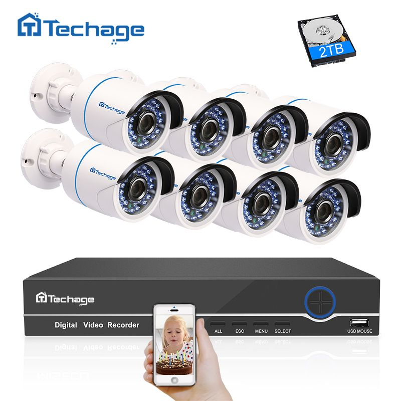 Techage 8CH 1080P HD CCTV System POE NVR Kit 2MP Outdoor Waterproof Security POE IP Camera P2P Onvif Video Surveillance Kit