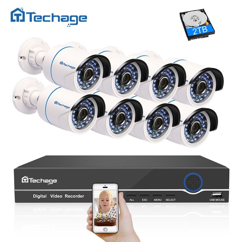 Techage Full HD 8CH 1080P HDMI POE NVR CCTV System (8) 2.0MP Outdoor IP Camera Waterproof P2P Onvif Security Surveillance System