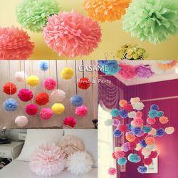 10 cm 15 cm 20 cm 25 cm papel decorativo de la boda pompoms POM poms 4 6 8 10 pulgadas bolas decoración del hogar cumpleaños tejido Decoración