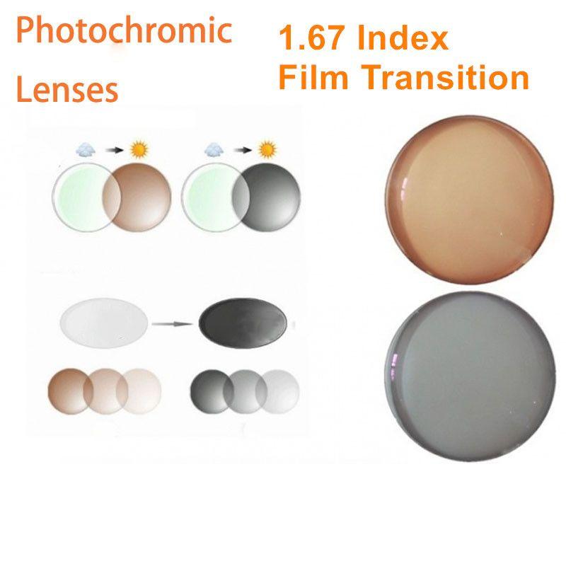 1,67 Index Rezept Photochrome Linsen Übergang Grau Braun Linsen für Myopie/Hyperopie Anti Glare Sonnenbrille Objektiv O167