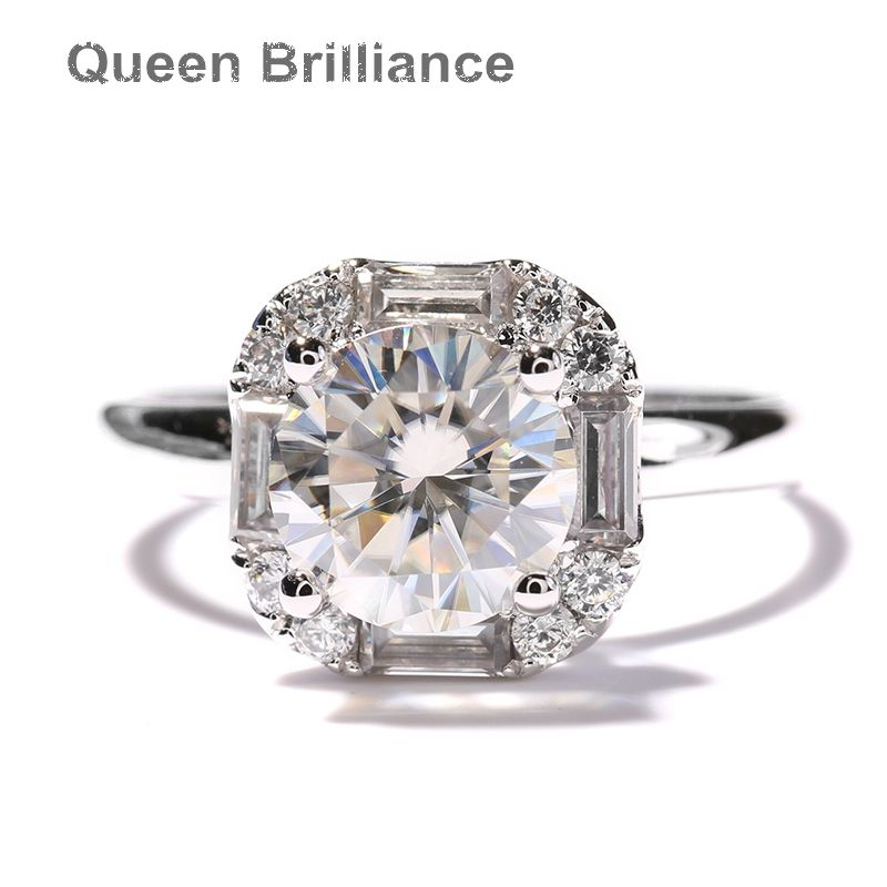 14K 585 White Gold 1 Carat ct GH Color Lab Grown Moissanite Diamond Ring Halo Engagement Wedding Ring with Accents for Women