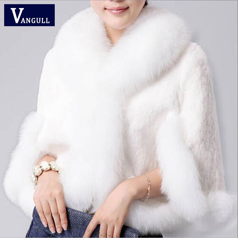 2017 New Fur Faux Coat Mink Hair Rex Rabbit Hair Cape Jacket Black White Fur Overcoat Imitation Rabbit Fur Faux Fox Collar XXXL