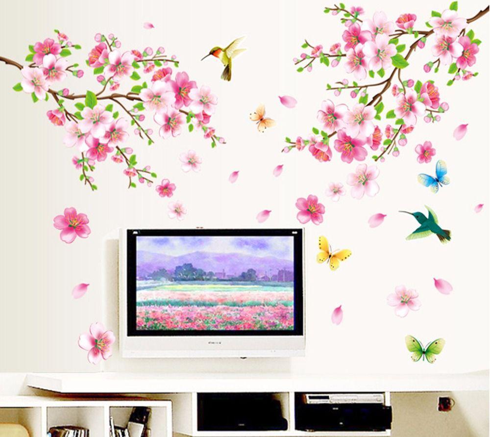 Grand 9158 Élégante Fleur Stickers Muraux Graceful Peach Blossom oiseaux Stickers Muraux Mobilier Romantique Salon Décoration