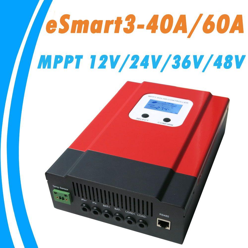 Upgraded ESmart3 MPPT 40A 60A Solar Controller 48V/36V/24V/12V Auto Back-light LCD Max 150VDC Input Energy Saving RS485 Port