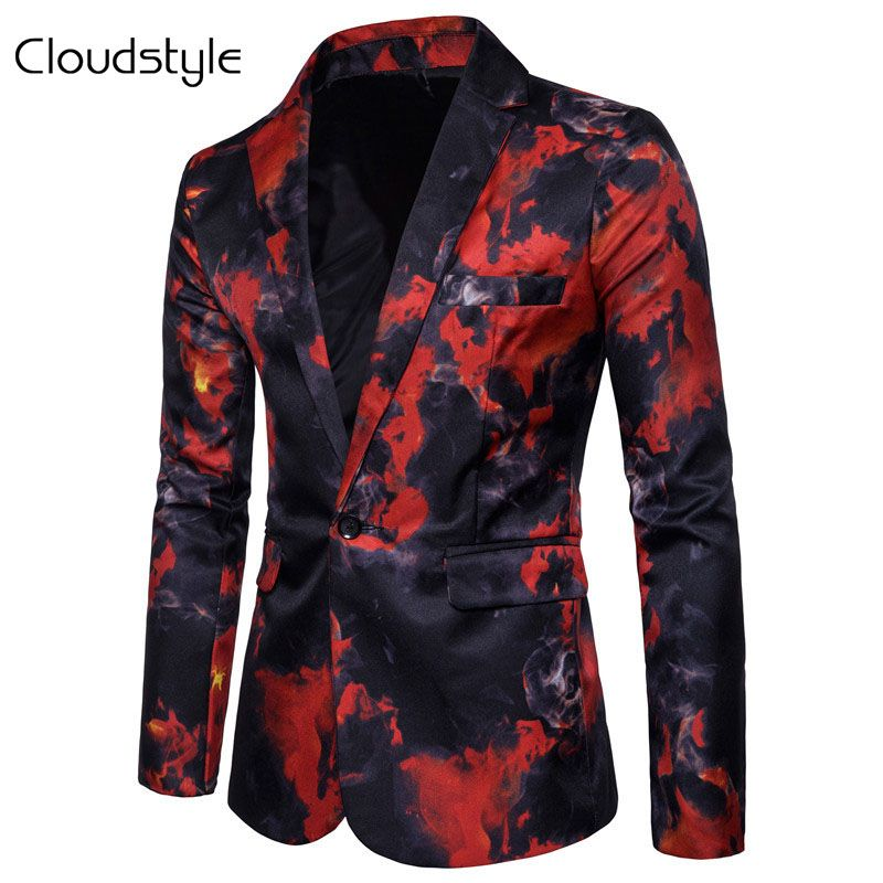 Cloudstyle 2018 Men Fire Print Suit Autumn Spring Male Performance Jacket Slim Blazer Men's Outerwear For Party