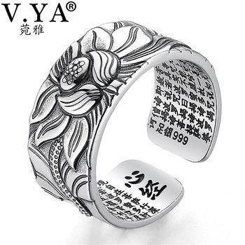 V. YA 100% Réel 999 Bijoux En Argent Pur Fleur De Lotus Anneau Ouvert pour Hommes Mâle De Mode Taille Libre Bouddhique Coeur Sutra Anneaux Cadeaux