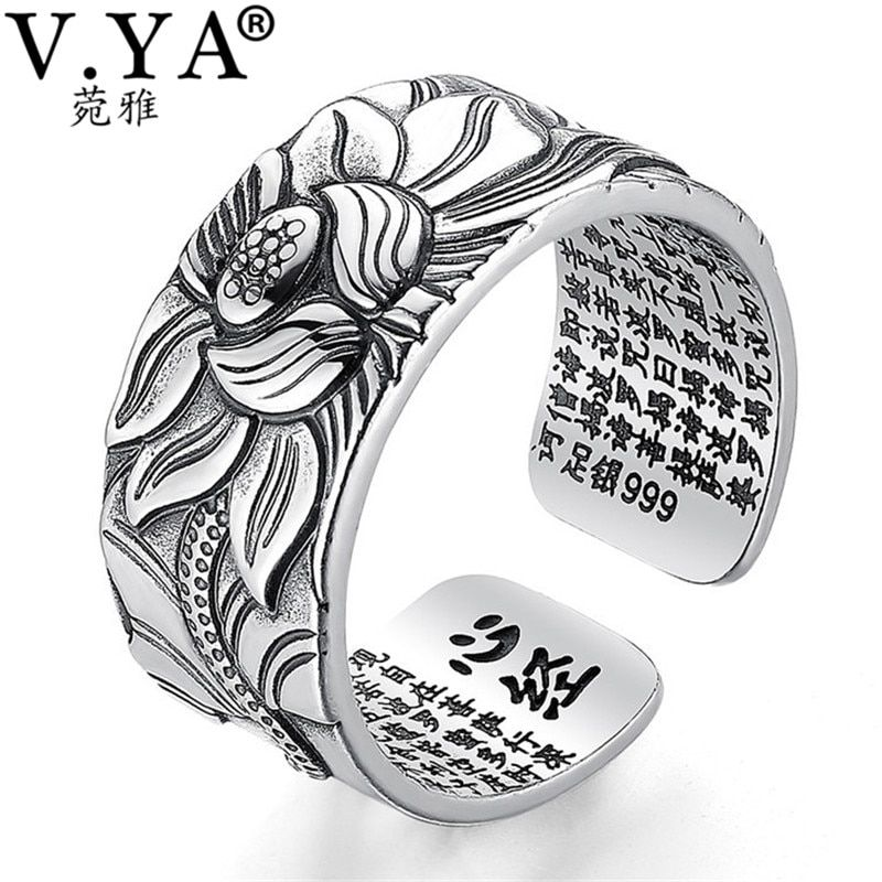 V.YA 100% Real 999 Pure Silver Jewelry Lotus Flower Open Ring For Men Male Fashion Free Size Buddhistic Heart Sutra Rings Gifts
