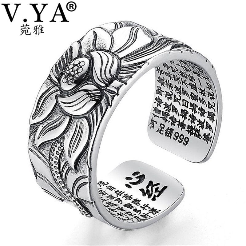 V. YA 100% réel 999 bijoux en argent pur fleur de Lotus anneau ouvert pour hommes hommes mode taille libre coeur buddhistique Sutra anneaux cadeaux